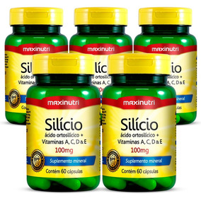 Kit 05 Silício Quelato Maxinutri - 60 Cápsulas