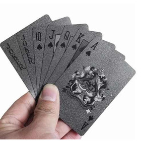 Kit 2 Baralhos Pvc Preto Luxo Poker Truco Jogos Cartas