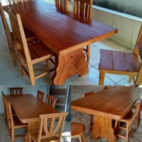 Mesa Rústica 2mt 6 Cadeiras Madeira Angelim Pedra