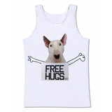 Camiseta Regata Free Hugs Bull Terrier