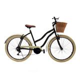 Bicicleta Aro 26 Feminina Retro Beach C/ 6 Marcha Cesta