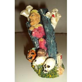 Bruxa Caveira Fantasma Halloween Terror Figura Resina