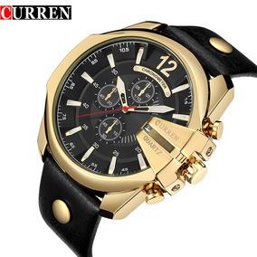 Relógio Curren Quartzo Luxo Ouro Frete Grátis!