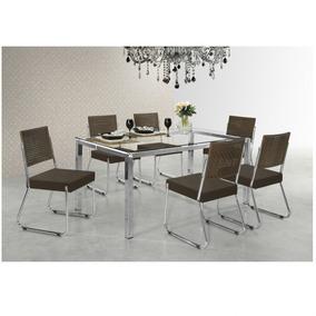 Conjunto Jantar Mesa Olivia 6 Cadeiras Isis Aço Nobre Db 346f46922c011