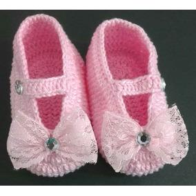 Sapatinho Para Bebe Croche Cor Rosa Tamanho 15 - Calçados Sapatos de ... bb498dda134