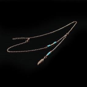 c02eab85a3b1 Moda Turquesa Gargantilla Metal Cadenas Colgante Forma Hoja