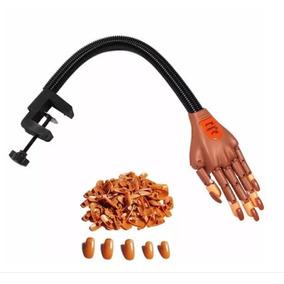 Mão Articulada Treino Manicure Unhas Gel Acrigel Postiça Kit