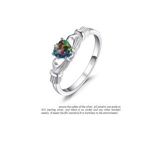 Anillo En Plata 925 Con Opalo Creado Multicolor # 8 Y 9