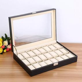 Estuche 24 Relojes Caja Exhibidor Guarda Joyas Reloje Piel