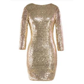 06367ab803864 Vestido Dorado Largo Mujer - Vestidos en Mercado Libre Colombia