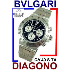 03316e9215f Bvlgari Diagono Ch 40 S Ta Terra Crono Auto Panda Dial Top!