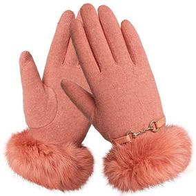 Guantes De Lana Frio Invierno Mujer Color Rosa Coral Warmen