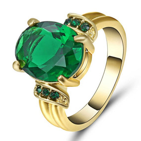 Aro 21 Anel Feminino Cristal Esmeralda 3 Banhos Ouro 481 P