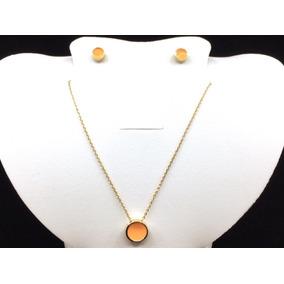 Collar, Aretes Y Dije De Circulo Chapa De Oro 18k Vogary
