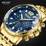 d7a6e146c13 Relógio Masculino Original Megir Dourado Azul A Prova D Água