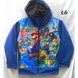 Poleron Super Mario Bros Talla 6 Franela Fantasía Y Polar