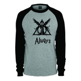 Camiseta Raglan Longa Harry Potter Reliquias Da Morte Always