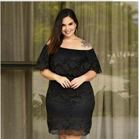 Vestido Plus Size Preto Feminino De Renda Ombro A Ombro