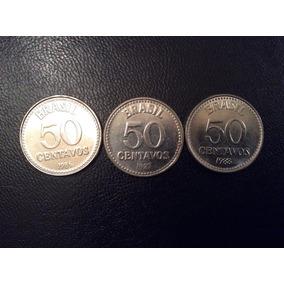 Moedas De 50 Centavos De Cruzados -1986/1987/1988 - Completa