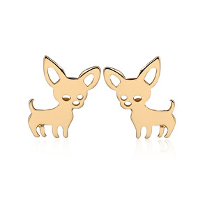Aretes Perrito Chihuahua Dorado Regalo Exclusivo E-022