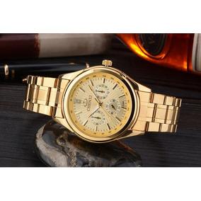 786a0d52a6e Relógio Feminino Barato Dourado Garantia Na Caixa + Brinde. R  129 99