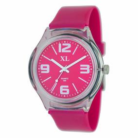 Reloj Xl Extra Large Moda Plástico Dama Xl463 Fucsia