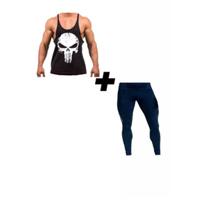 Conjunto Calça Térmica E Regata Justiceiro Moda Fitness