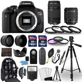 Canon Eos Rebel T6i Camera + 18-55mm + 75-300mm 30 Piezas