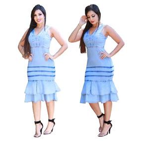 Vestido Jeans Médio Moda Evangélica Blogueira Barato 0025