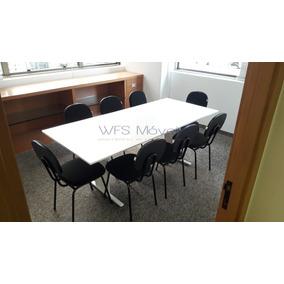 Conjunto 6 Cadeiras Escritório Mesa Reunião Retangular 2,00m