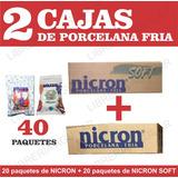 2 Cajas Porcelana Fria Nicron Soft + Nicron 40 Paquetes