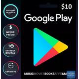 Tarjeta Google Play 10 Dolares Codigo Acept Mercadopa