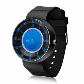Relógio Original Futurista Aço Black (fundo Azul) Esportivo