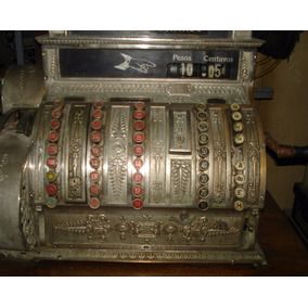 Caja Maquina Registradora Antigua National Bronce Y Madera