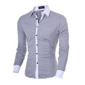 Camisa Social Comprida Masculina Cinza Claro Desconto