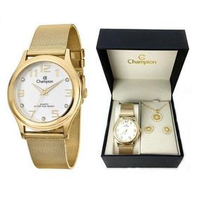 Kit Relógio Champion Feminino Cn29007w Colar Brincos Dourado