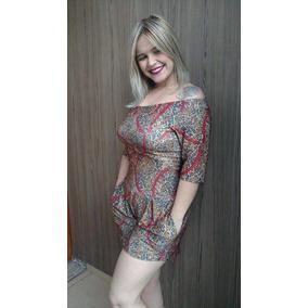 Macaquinho Macacão Curto Feminino Short Com Bolso Moda