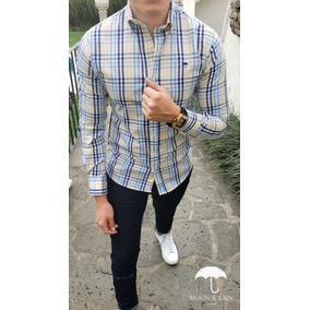 Camisa Slim Fit Blanca Cuadros Amarillos, Azul, Marino M&r