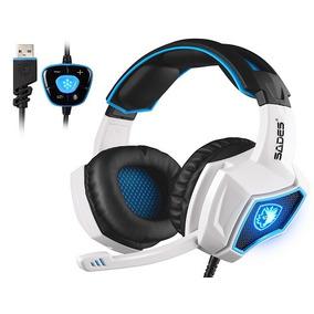 Audifono Gamer 7.1 Sades Over Ear Usb Pc Ps4 Xbox (blanco)