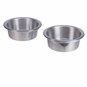 Bebedouro E Comedouro Duplo Cães Gatos Ave Bacia Em Alumínio