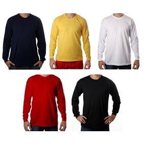 Camiseta Manga Longa Algodão 100% Básica Lisa Camisa Blusa b581a39fbc7a0