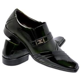 Sapato Social Masculino Estilo Italiano Verniz Verde 0751