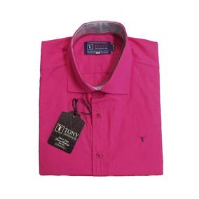 Camisa Masculina Slim Rosa Manga Curta