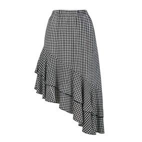 Falda 15608 Cuadros Escarolas Asimétrica Blanco Negro Rinna