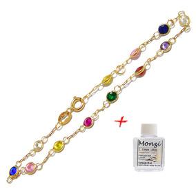 d49b5de103127 Pulseiras Ouro Com Pedras Zirconia Coloridas - Pulseiras e ...