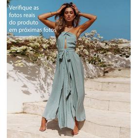 Vestido Longo Praiano Decotado Fendas Costas Nuas