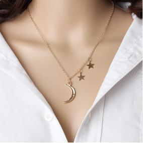 Colar Feminino Cor Dourado Pingente Lua E Estrelas