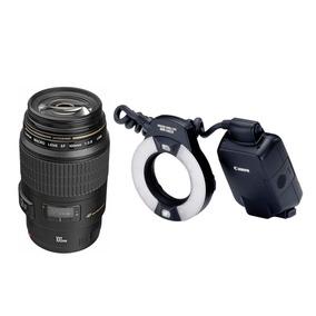 Lente Canon Ef 100mm F/2.8 Macro Usm + Ring Flash Mr 14ex Ii
