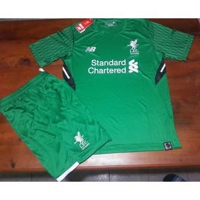 Conjunto Camiseta + Short Arquero Verde - Liverpool F C 2018