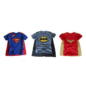 5 Camisetas Infantil Personagem Superherois Com Capa De Lux